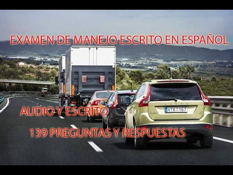 Examen  de Manejo Escrito en Español  2017/DMV /Audio y Escrito/ Preguntas y Respuestas