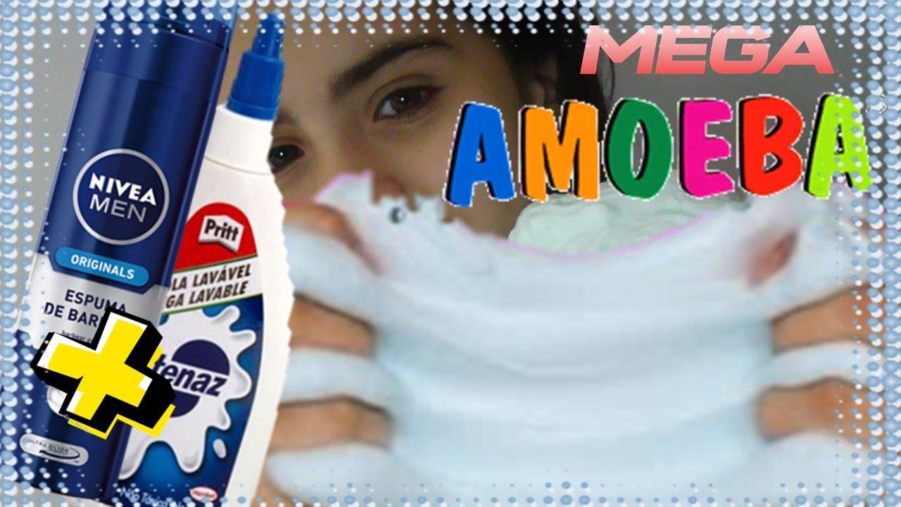 Diy  Mega Amoeba Neve Com Espuma De Barbear Como Fazer  Giant Fluffy Slime