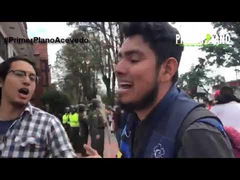 Ataque a sede de RCN radio Bogota, durante protestas de la UNC