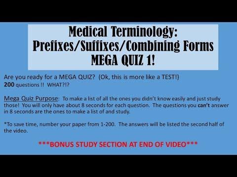 Medical Terminology: Prefixes, Suffixes, Combining Forms