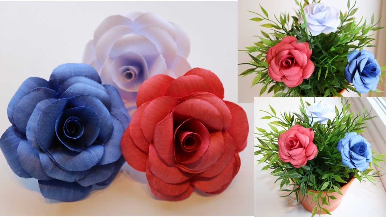 Diy beautiful paper roses using printer paper handmade paper diy beautiful paper roses using printer paper handmade paper crafts mightylinksfo