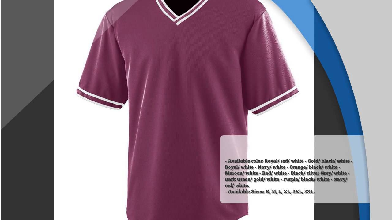 AUGUSTA WICKING V-NECK BASEBALL JERSEY Free Design Templates - YouTube
