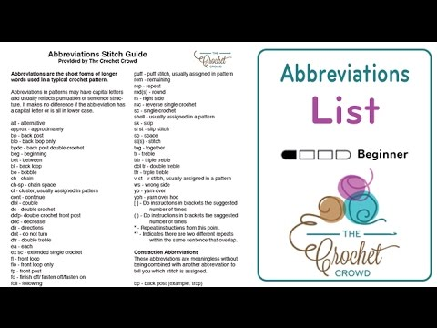 Free Crochet Abbreviations Guide by The Crochet Crowd - YouTube