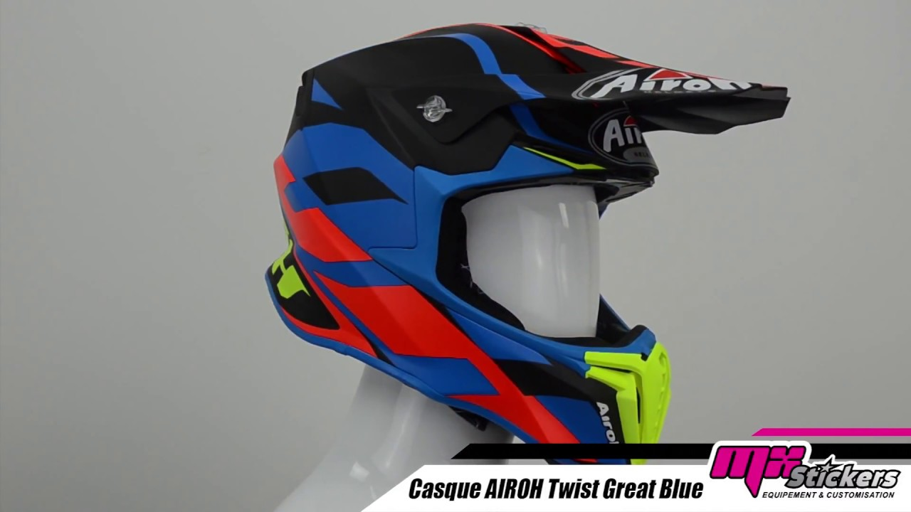 Casque Cross Airoh Twist Great Bleu Mat Mx Stickers Youtube