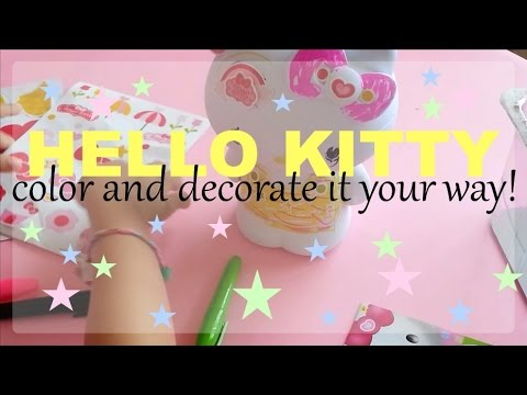 Coloring and Decorating Hello Kitty Unboxing  Hello Kitty