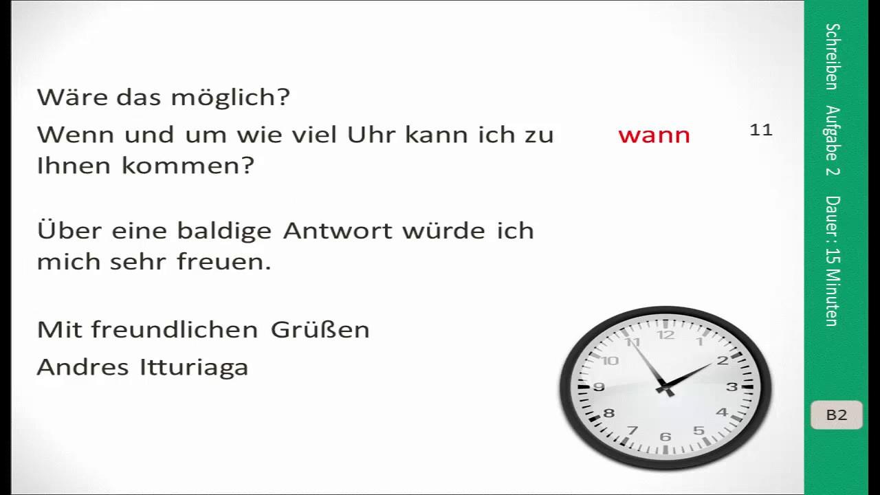 Prüfungsvorbereitung Goethe Zertifikat B2 Schreiben Youtube