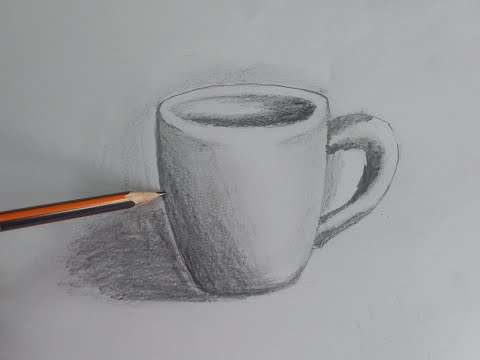 Draw a coffee cup with shading