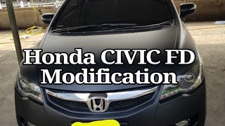 HONDA CIVIC FD 2010 MANUAL HITAM DOFF MODIFIKASI RIMS 17 dan Balutan STIKER