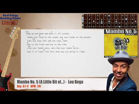 Mambo No 5 A Little Bit of   Lou Bega Bass Backing Track with chords and lyrics
