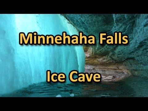 Minnehaha Falls Ice Cave in Winter - Minneapolis Frozen Waterfall