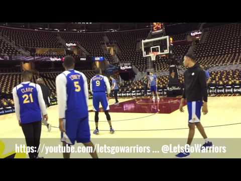 Warriors (2-0) morning shootaround incl Klay, Draymond, Stephen Curry 4s + dunk; before Cavs Game 3