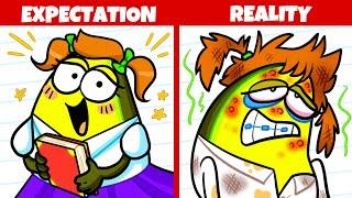 Back to School Expectation vs Reality | Funny Cartoon | Avocado Couple