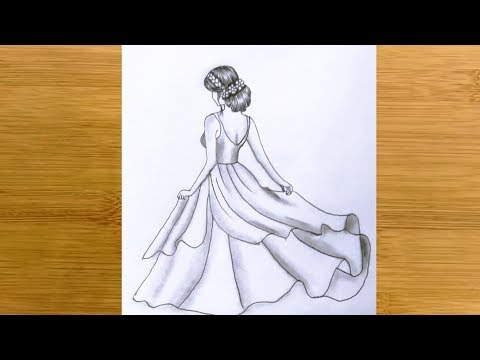How to Draw a girl  Back Side with beautiful dress || Pencil sketch - step by step thumbnail