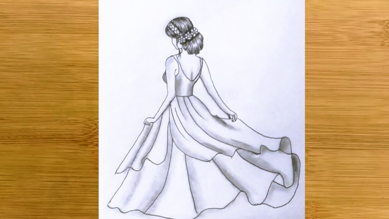 How To Draw A Girl Back Side With Beautiful Dress Pencil Sketch Step By Step Youtube