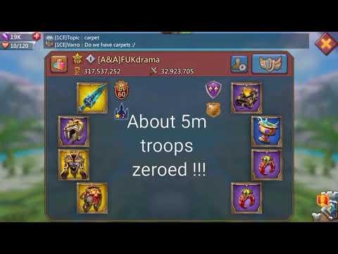 Lords Mobile - Battle Fury Triple Rally. 5m Troops Zeroed! ( Flash Video)