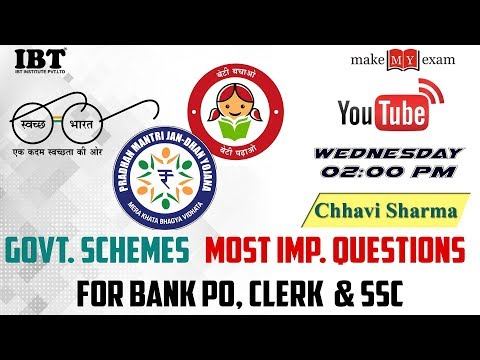Govt. schemes   | Most Imp. Questions  for Bank PO, Clerk  & SSC | By : Chhavi Sharma