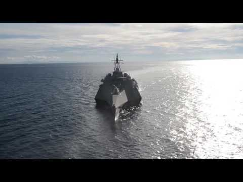 Combat ship USS Coronado (LCS 4) transits the Bohol Sea duri