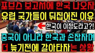 포브스 보고서에 한국이 언급되자 유럽 국가들이 뒤집어진…