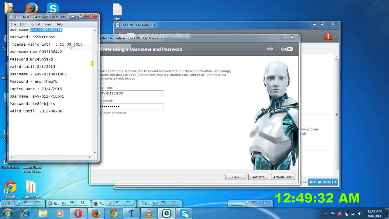 eset activation keys facebook