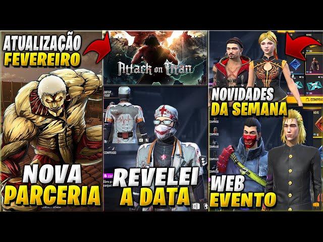 ATTACK ON TITAN NO FREE FIRE! PACOTE DR AÇOUGUEIRO E NOVIDADES DA SEMANA! LÂMINA DE FERRO DE VOLTA!
