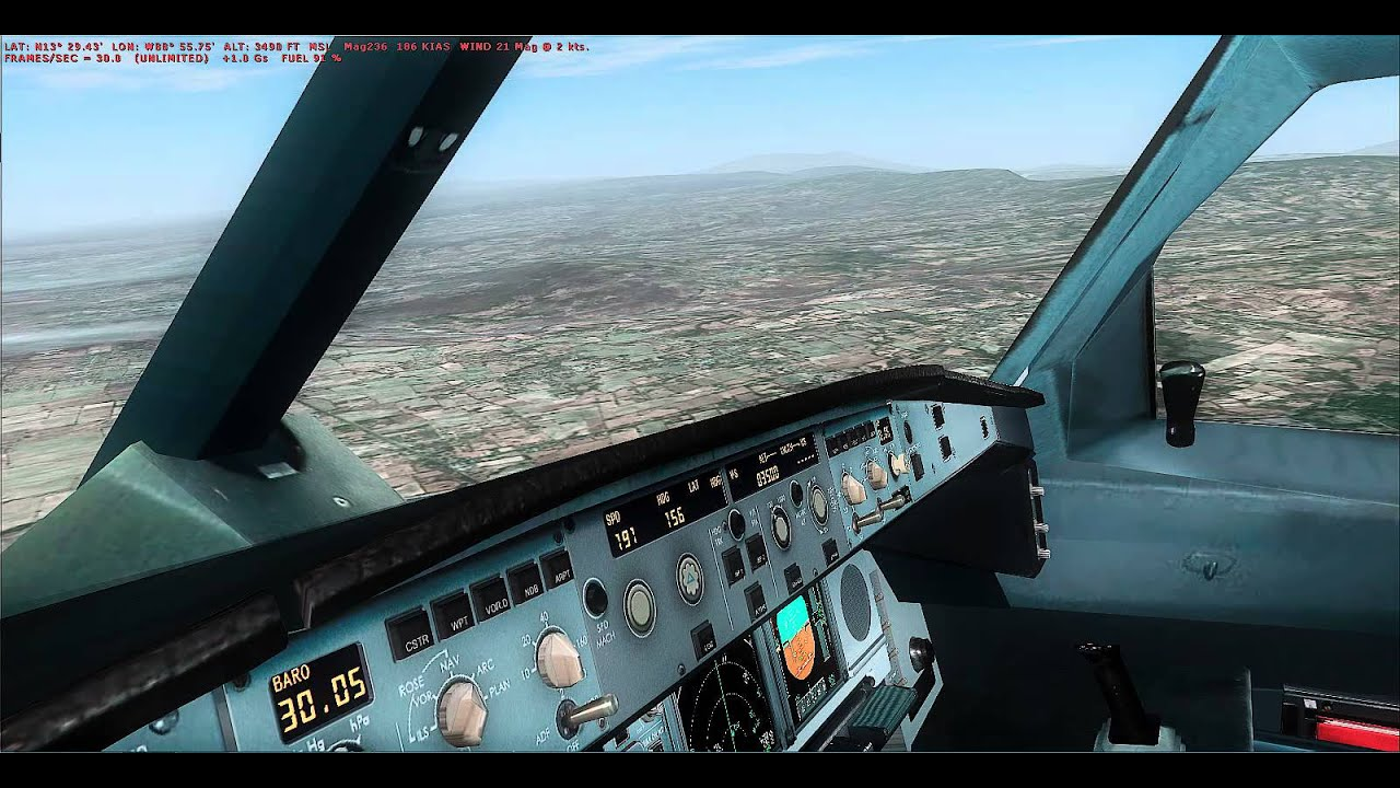 FSX WILCO AIRBUS EVOLUTION 2 A340 600 approach and landing salvadoramazing  scenery rex 4 clouds