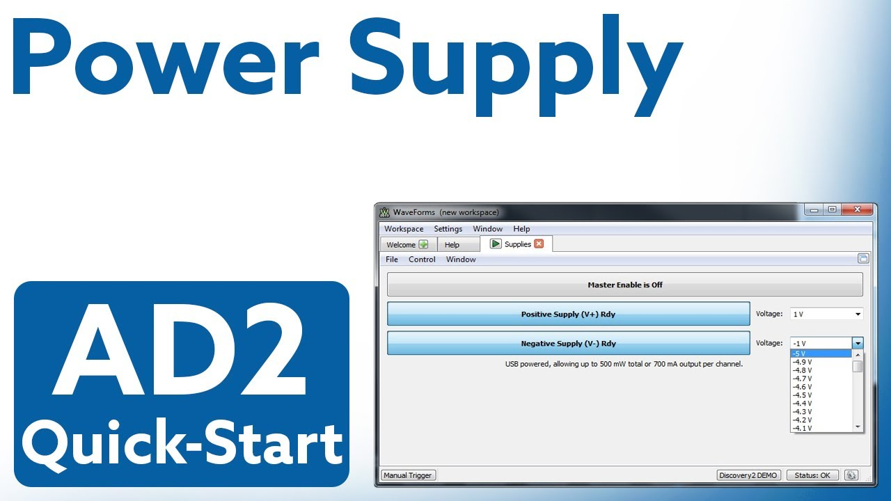 Analog Discovery 2 Quick-Start: Video 9 - Power Supply