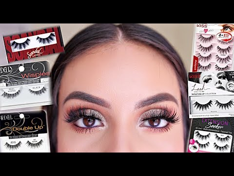 TOP 10 DRUGSTORE/AFFORDABLE LASHES + THE BEST EYELASH GLUE 2019 | JuicyJas