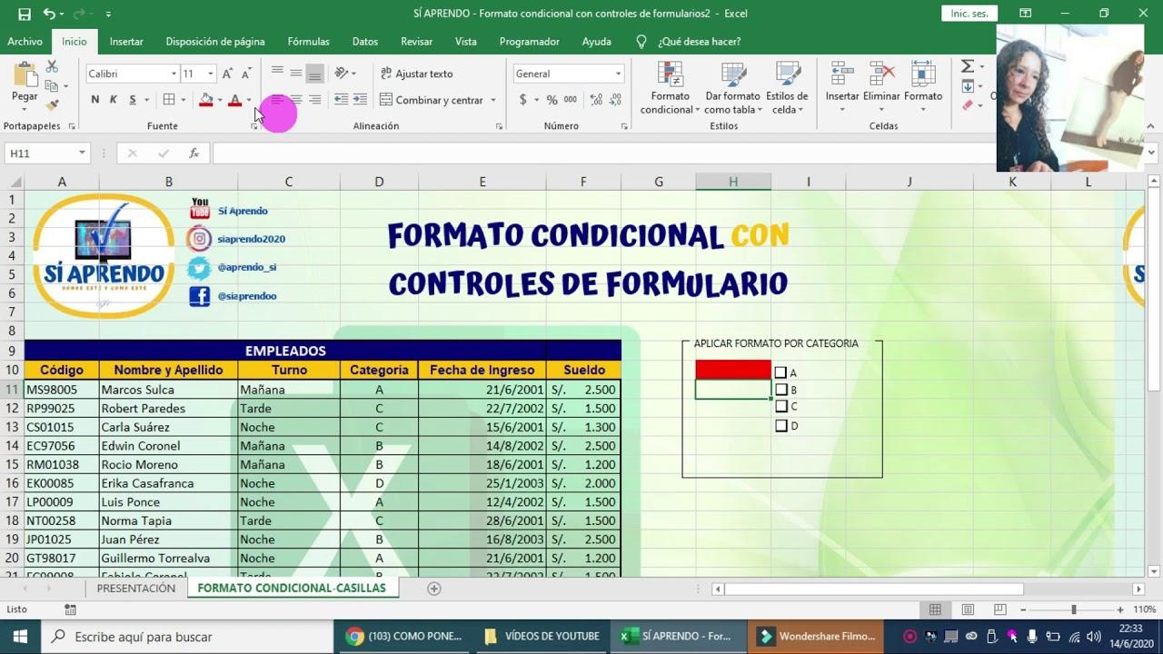 Formato Condicional Con Controles De Formulario En Excel Casillas Y Cua Condicional Informática Computacion