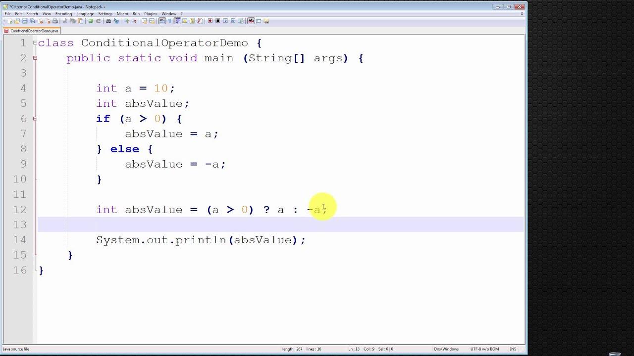 Java Programming Tutorial - Conditional Operator ( ? : ) - YouTube