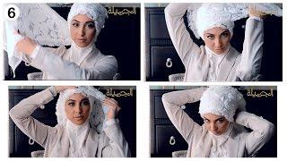 """طريقة لف حجاب العروس مع """"حنان"""""""