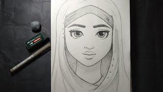 Karakalem, tesettürlü kız çizimi/çizen kız/ 🌼