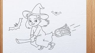 How to draw a cute Witch