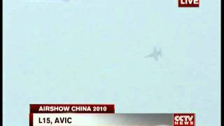 Chinese L-15 Falcon advanced jet fighter-trainer (PT06 LIFT version) on displays