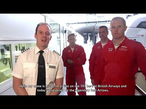 British Airways - The Red Arrows swap the hawk for a 747-jumbo jet