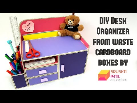 DIY Desk Organizer From Cardboard box by Srushti Patil |Best Out Of Waste Project|