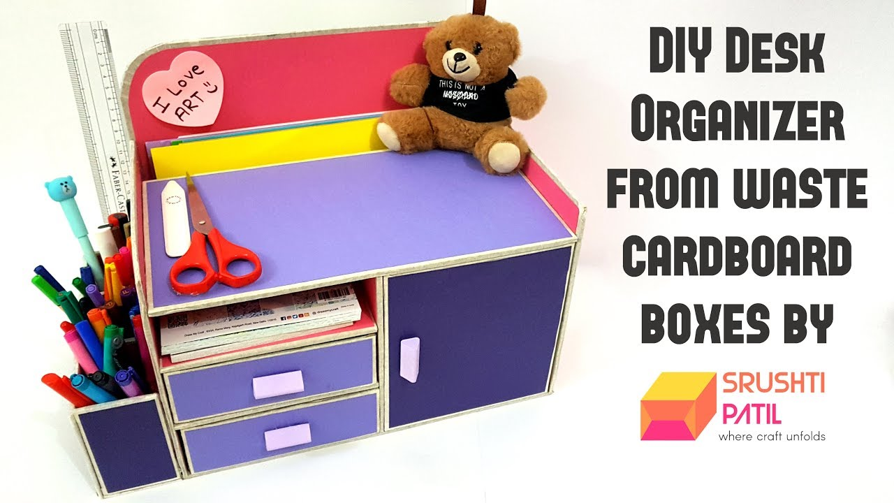 diy desk organizer from cardboard box by srushti patil best out of waste project youtube. Black Bedroom Furniture Sets. Home Design Ideas