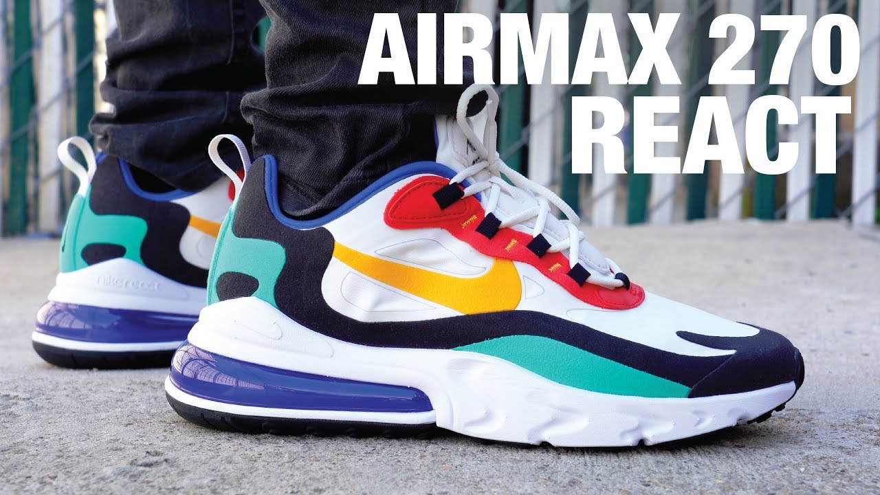 air max 270 react on feet white