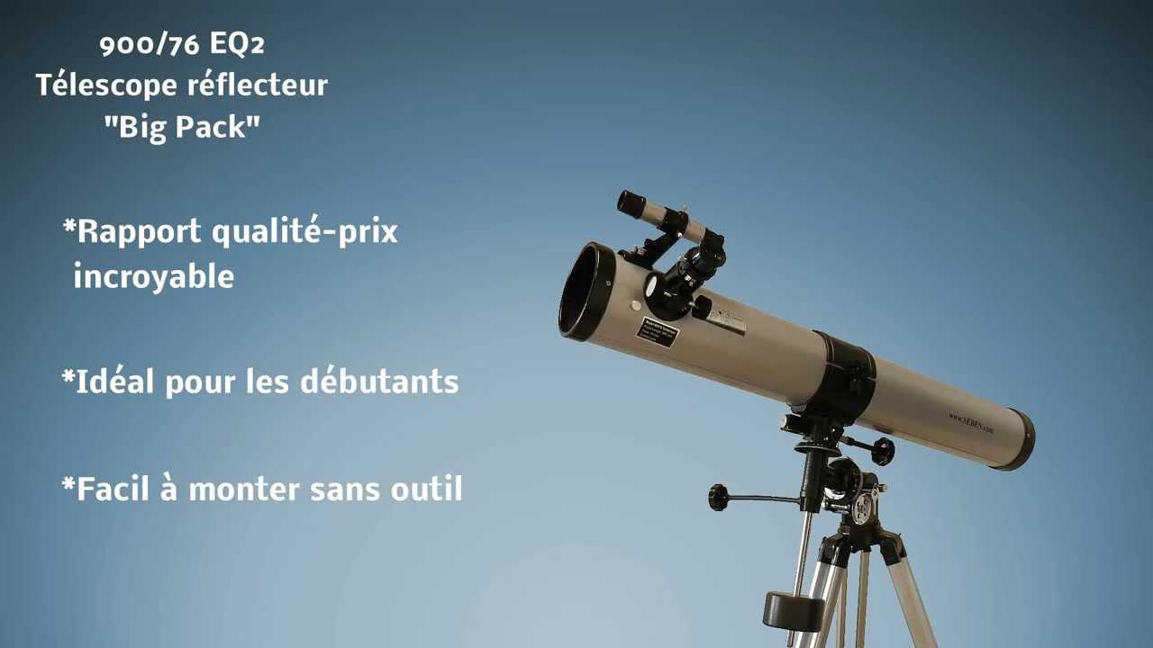 Télescope réflecteur 900 76 eq2 « big pack » youtube