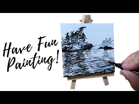 Painting Tutorial / Seascape Painting/ Black & White