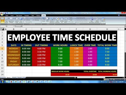exercise 06 excel practice book how to make emp time schedule in