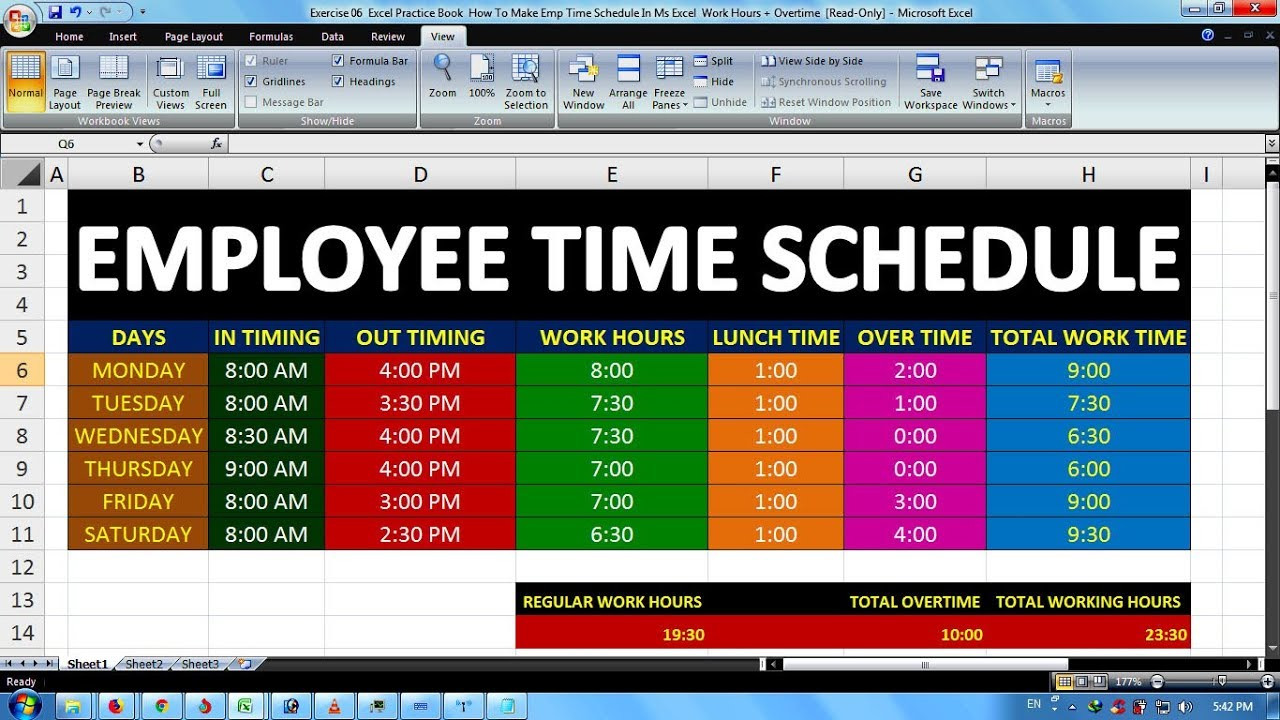 Exercise 06 | Excel Practice Book | How To Make Emp Time ...