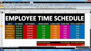Exercise 06 | Excel Practice Book | How To Make Emp Time Schedule In Ms Excel  Work Hours + Overtime