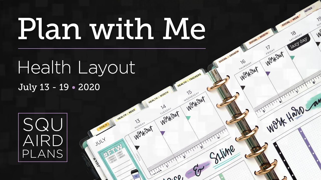 Plan with Me :: Purple/Teal/Black :: Squaird Plans Health Layout :: Classic Happy Planner :: 2020