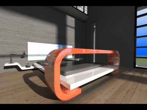 Cama flotante con mesa desayunador youtube for Mesa de luz flotante