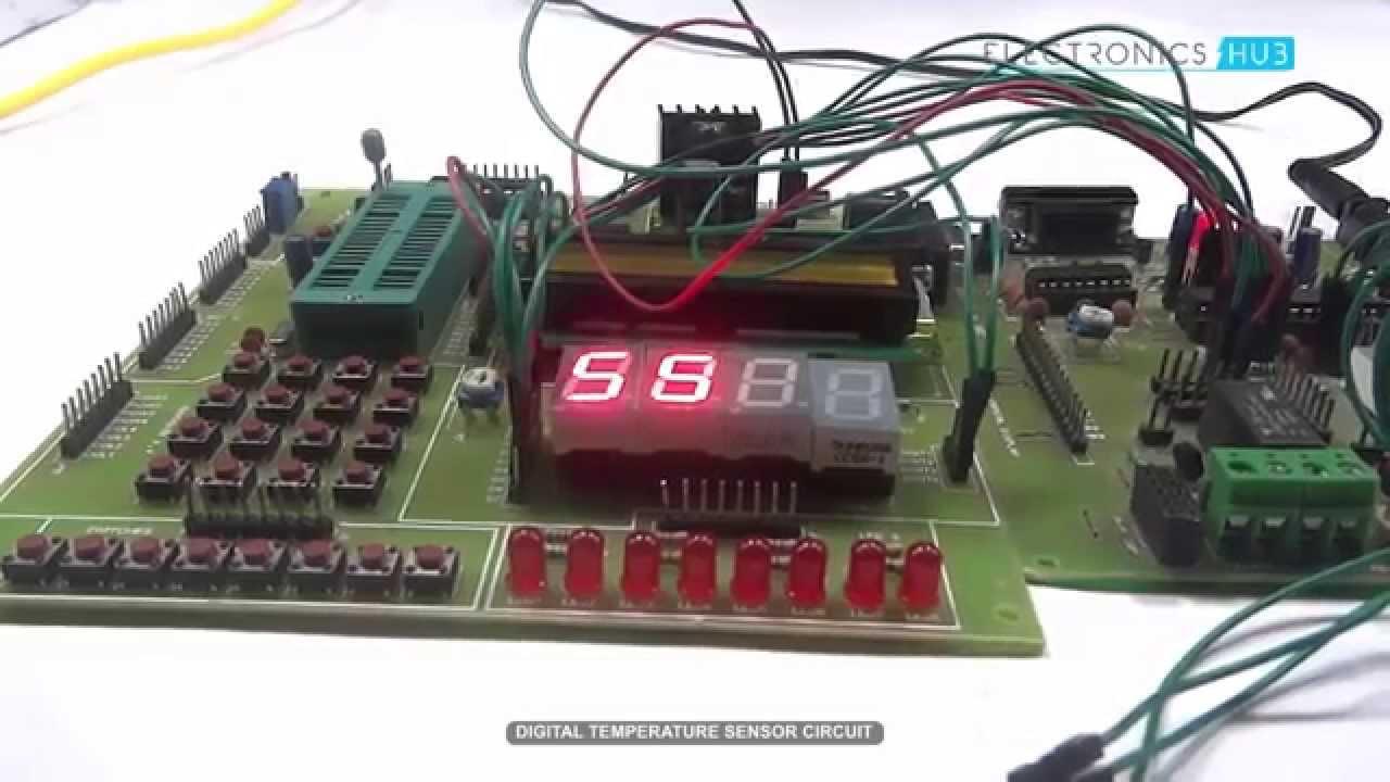 Digital Temperature Sensor Using Microcontroller Youtube Circuit