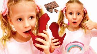 Nastya kıyafet değiştirir, prenses ve çikolata yarışmasına dönüşür