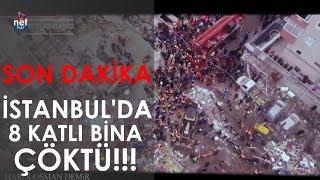 SON DAKİKA! İstanbul Kartal'da 8 katlı bina çöktü!!! (Drone çekimi)