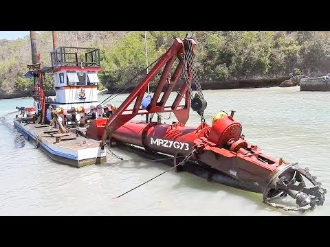 Cool!! Excavator CSD Cutter Suction Dredger Kapal Keruk Working Part 1