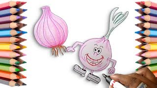 How to Draw a Cartoon Onion Easy Step by Step - Learn to Draw with Coloring Pages Pencil Shadings