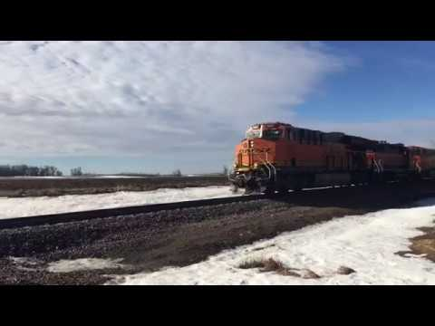 Tier 4 GEVO and GP38-2 Lead a 98 Car Freight Past the Day County Fairgrounds in Webster, SD